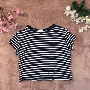 Ribbed Stripped Crop Top